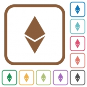 Ethereum digital cryptocurrency simple icons in color rounded square frames on white background - Ethereum digital cryptocurrency simple icons