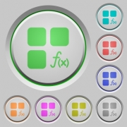 Component functions color icons on sunk push buttons - Component functions push buttons