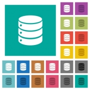 Single database multi colored flat icons on plain square backgrounds. Included white and darker icon variations for hover or active effects. - Single database square flat multi colored icons