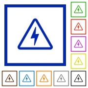 Danger electrical hazard flat color icons in square frames on white background - Danger electrical hazard flat framed icons