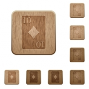 Ten of diamonds card on rounded square carved wooden button styles - Ten of diamonds card wooden buttons