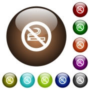 No smoking sign white icons on round color glass buttons - No smoking sign color glass buttons