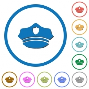 Police hat flat color vector icons with shadows in round outlines on white background - Police hat icons with shadows and outlines