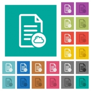 Cloud document multi colored flat icons on plain square backgrounds. Included white and darker icon variations for hover or active effects. - Cloud document square flat multi colored icons