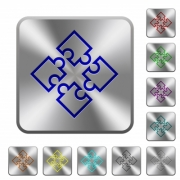 Puzzle pieces engraved icons on rounded square glossy steel buttons - Puzzle pieces rounded square steel buttons