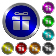 Gift box icons on round luminous coin-like color steel buttons - Gift box luminous coin-like round color buttons