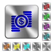 Dollar coins engraved icons on rounded square glossy steel buttons - Dollar coins rounded square steel buttons