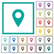 Blank GPS map location pin flat color icons with quadrant frames on white background - Blank GPS map location pin flat color icons with quadrant frames