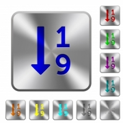 Ascending numbered list engraved icons on rounded square glossy steel buttons - Ascending numbered list rounded square steel buttons