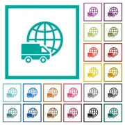 International transport flat color icons with quadrant frames on white background - International transport flat color icons with quadrant frames