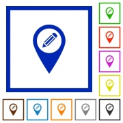 Edit GPS map location flat color icons in square frames on white background - Edit GPS map location flat framed icons