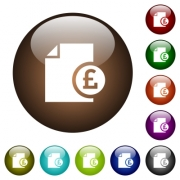 Pound financial report white icons on round color glass buttons - Pound financial report color glass buttons