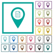 GPS map location details flat color icons with quadrant frames on white background - GPS map location details flat color icons with quadrant frames