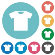 T-shirt flat white icons on round color backgrounds - T-shirt flat round icons