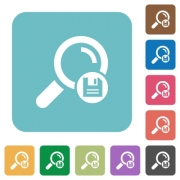 Save search results white flat icons on color rounded square backgrounds - Save search results rounded square flat icons