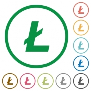 Litecoin digital cryptocurrency flat color icons in round outlines on white background - Litecoin digital cryptocurrency flat icons with outlines