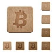 Bitcoin digital cryptocurrency on rounded square carved wooden button styles - Bitcoin digital cryptocurrency wooden buttons