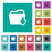 Download folder multi colored flat icons on plain square backgrounds. Included white and darker icon variations for hover or active effects. - Download folder square flat multi colored icons