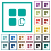 Copy component flat color icons with quadrant frames on white background - Copy component flat color icons with quadrant frames