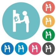 Lira cash machine flat white icons on round color backgrounds - Lira cash machine flat round icons