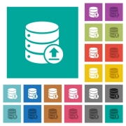 Restore database multi colored flat icons on plain square backgrounds. Included white and darker icon variations for hover or active effects. - Restore database square flat multi colored icons
