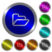 Open folder icons on round luminous coin-like color steel buttons - Open folder luminous coin-like round color buttons