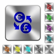 Euro Pound money exchange engraved icons on rounded square glossy steel buttons - Euro Pound money exchange rounded square steel buttons