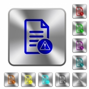 Document error engraved icons on rounded square glossy steel buttons - Document error rounded square steel buttons