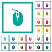 Computer mouse with cord flat color icons with quadrant frames on white background - Computer mouse with cord flat color icons with quadrant frames
