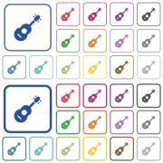 Acoustic guitar color flat icons in rounded square frames. Thin and thick versions included.