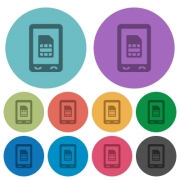 Mobile sim card darker flat icons on color round background - Mobile sim card color darker flat icons