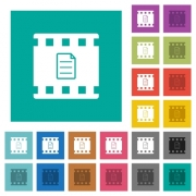 Movie details multi colored flat icons on plain square backgrounds. Included white and darker icon variations for hover or active effects. - Movie details square flat multi colored icons