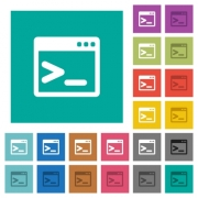 Command prompt multi colored flat icons on plain square backgrounds. Included white and darker icon variations for hover or active effects. - Command prompt square flat multi colored icons