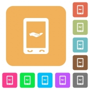 Mobile services flat icons on rounded square vivid color backgrounds. - Mobile services rounded square flat icons