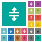 Horizontal split tool multi colored flat icons on plain square backgrounds. Included white and darker icon variations for hover or active effects. - Horizontal split tool square flat multi colored icons