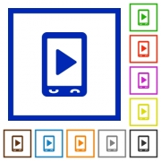 Mobile play media flat color icons in square frames on white background - Mobile play media flat framed icons