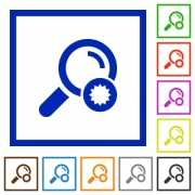 Trusted search flat color icons in square frames on white background - Trusted search flat framed icons