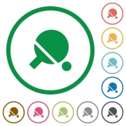 Table tennis flat color icons in round outlines on white background