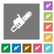 Chainsaw flat icons on simple color square backgrounds - Chainsaw square flat icons - Large thumbnail