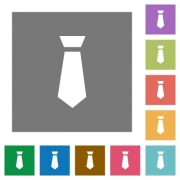 Tie flat icons on simple color square backgrounds - Tie square flat icons