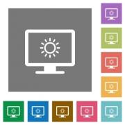 Adjust screen brightness flat icons on simple color square backgrounds - Adjust screen brightness square flat icons - Large thumbnail