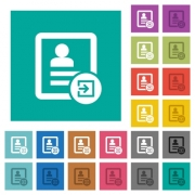 Import contact multi colored flat icons on plain square backgrounds. Included white and darker icon variations for hover or active effects. - Import contact square flat multi colored icons
