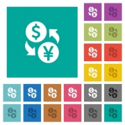 Dollar Yen money exchange multi colored flat icons on plain square backgrounds. Included white and darker icon variations for hover or active effects. - Dollar Yen money exchange square flat multi colored icons