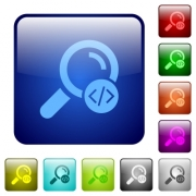 Search programming code icons in rounded square color glossy button set - Search programming code color square buttons