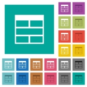 Spreadsheet horizontally merge table cells multi colored flat icons on plain square backgrounds. Included white and darker icon variations for hover or active effects. - Spreadsheet horizontally merge table cells square flat multi colored icons