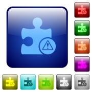 Plugin warning icons in rounded square color glossy button set - Plugin warning color square buttons