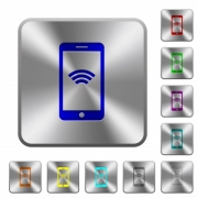 Cellphone with wireless network symbol engraved icons on rounded square glossy steel buttons - Cellphone with wireless network symbol rounded square steel buttons