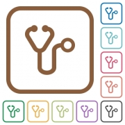 Stethoscope simple icons in color rounded square frames on white background - Stethoscope simple icons