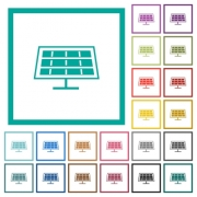 Solar panel flat color icons with quadrant frames on white background - Solar panel flat color icons with quadrant frames