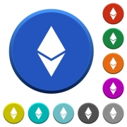 Ethereum digital cryptocurrency round color beveled buttons with smooth surfaces and flat white icons - Ethereum digital cryptocurrency beveled buttons